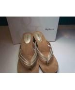 NIB Style & Co Metallic Gold Wedge Slide Sized 070 075 M - $11.99