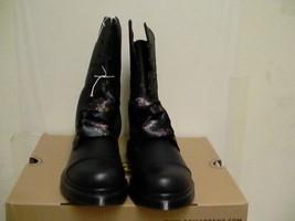 Women's dr martens leather boots biking aimilie black size 5 us new - $128.65