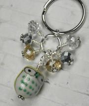 Yellow Owl Cluster Keychain Ceramic Crystal Beaded Handmade Split Key Ri... - $13.09
