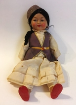 Vintage Doll Kykna Brown Plastic Red Shoes Black Hair Cap Russian Collec... - $45.00