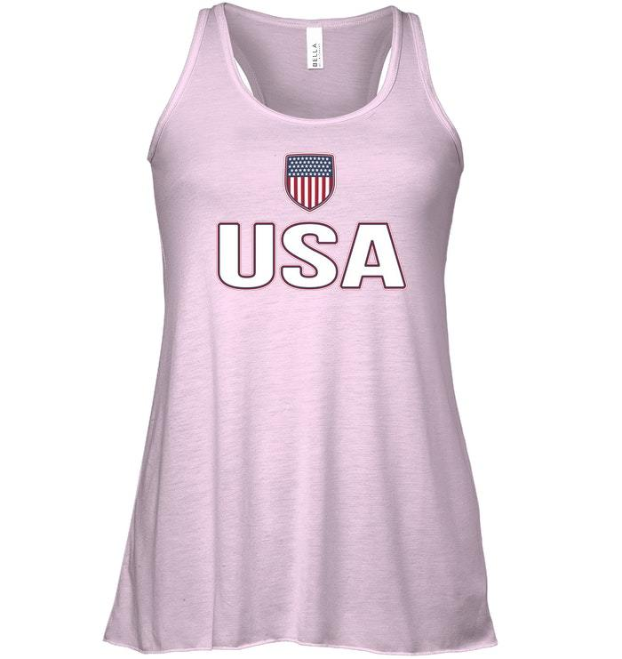 USA Red White Blue Flowy Racerback Tank American Flag Us Classic image 3