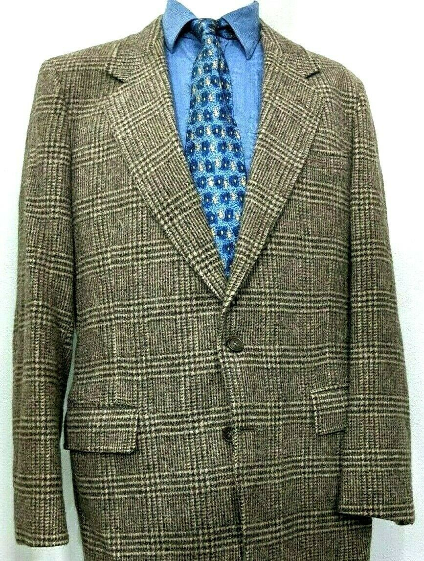 Primary image for Arnie Wool Lambswool 42L Sport Coat Blazer Glen Check Brown Arnold Palmer Jacket