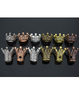 Solid Metal King & Queen Crown Big Hole  Bracelet Connector Charm Beads ... - $0.98+