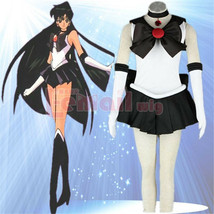 Sailor Moon Sailor Pluto Cosplay Costume Black Uniform Sailor Dress Cust... - $58.99