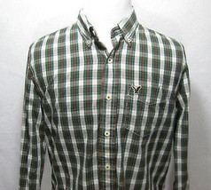 Mens AMERICAN EAGLE OUFITTERS Green Plaid Long Sleeve Button Front Shirt... - $188,94 MXN