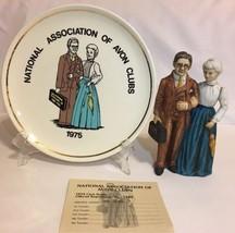 1973 Avon Clubs Mr. Mrs. D.H McCONNELL Figurine Bottle & Decorative Plat... - $24.71
