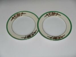Set 2 NORITAKE China Salad Plates Green Band Gold Moriage Encrusted Floral N3468 - $24.74