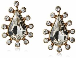 New David Aubrey Gold Tone Crystal Cubic Zirconia Pear Shape Teardrop Earrings image 1