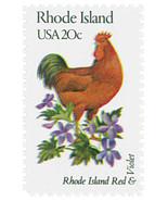 1982 20c State Birds & Flowers Rhode Island Red & Violet Scott 1991 Mint... - $1.89