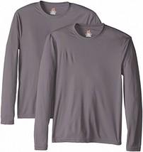 Hanes Men's Long Sleeve Cool Dri T-Shirt UPF 50+, Large, 2 Pack , Graphite - $25.73