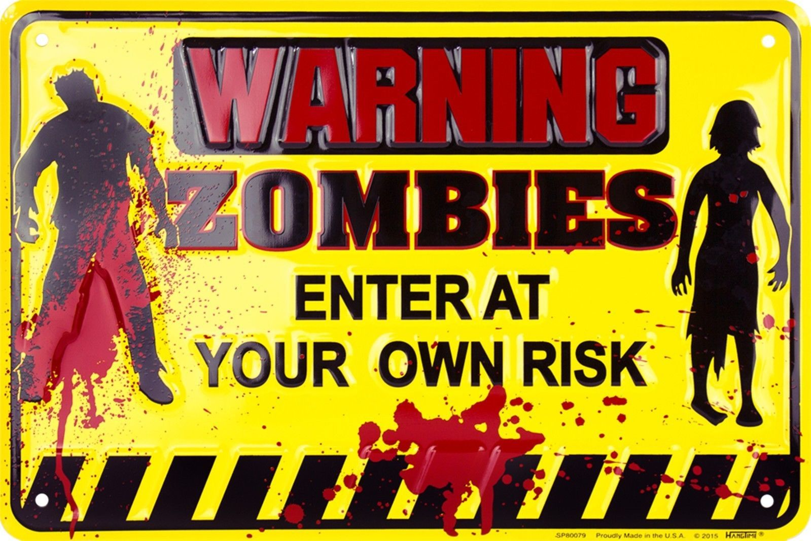 """Warning Zombies Enter At Your Own Risk 8"""" x 12"""" Embossed Metal Parking Sign"""