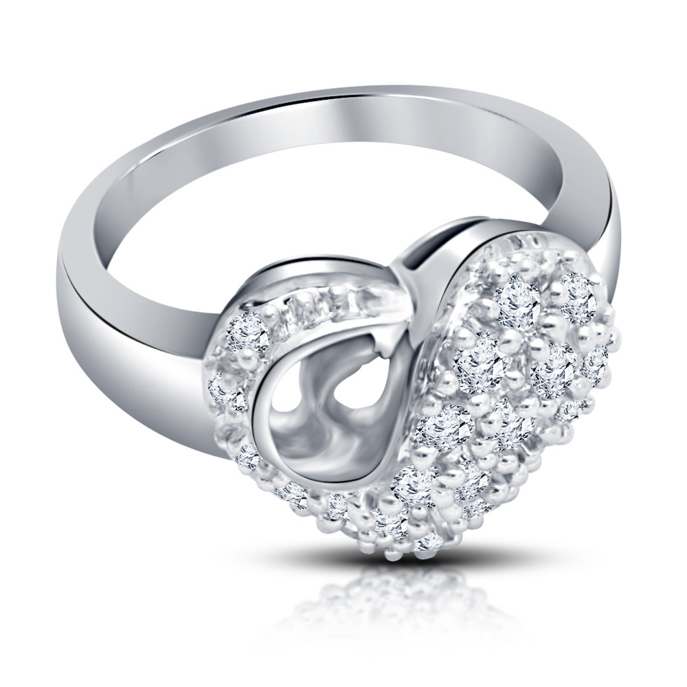Primary image for Round Cut White Diamond 925 Sterling Silver Women's Classy Heart Engagement Ring