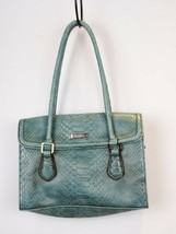 Liz Claiborne-Ladies Turquoise Faux Snake Skin Vegetarian Medium Handbag Purse - $18.02