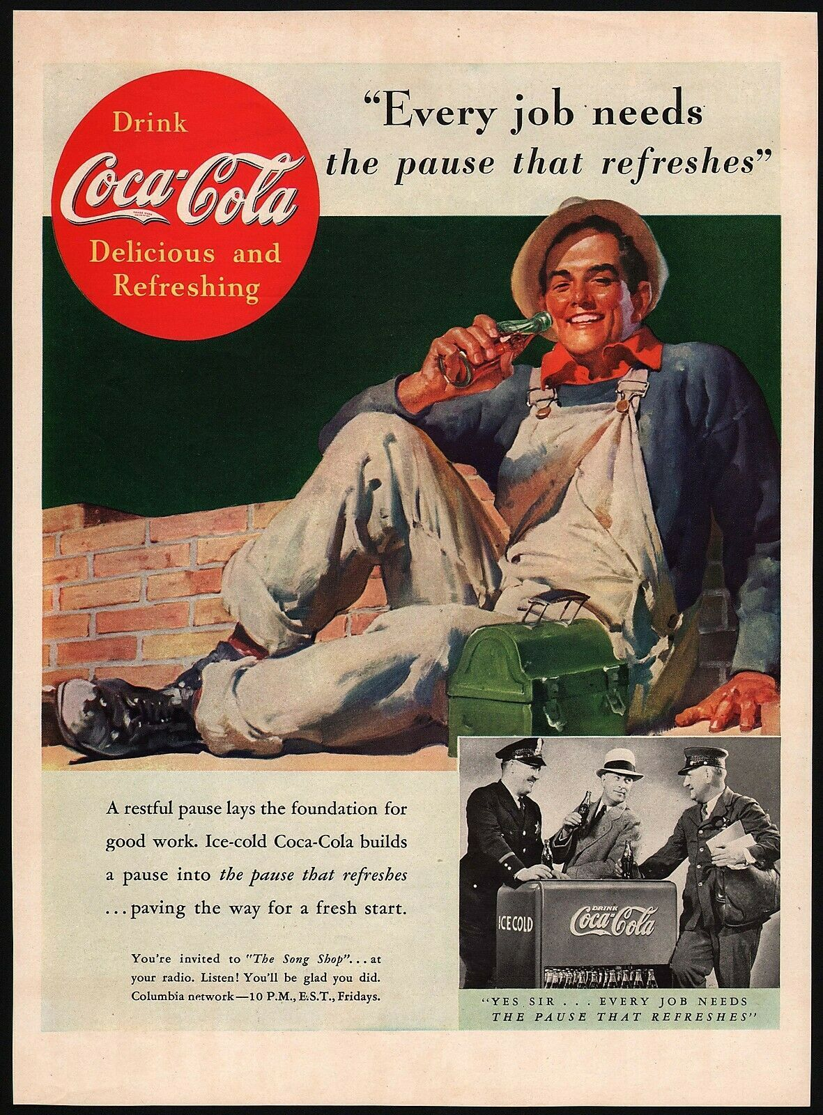 Primary image for Vintage magazine ad COCA COLA from 1937 Every Job Needs working man pictured
