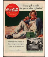 Vintage magazine ad COCA COLA from 1937 Every Job Needs working man pict... - $12.99