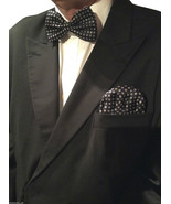 Mens Formal Bow Tie and Ready Made Pocket Handkerchief Set Polka Dot Navy - $8.60
