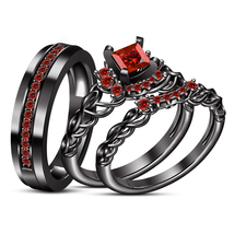 14k Black Gold Over 925 Sterling Silver Red Garnet His Her Wedding Trio ... - $168.99