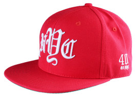 40oz Forty Ounce NYC Big Apple New York Old English Red Snapback Baseball Hat image 2