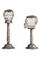 :10960B  Light Up LED Silver Glass Skull Stands Set Of Two - $68.05