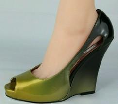 Jessica Simpson Pensly Damen Keilabsatz Schuhe Grün Offen Zehen Größe 10B - $24.97