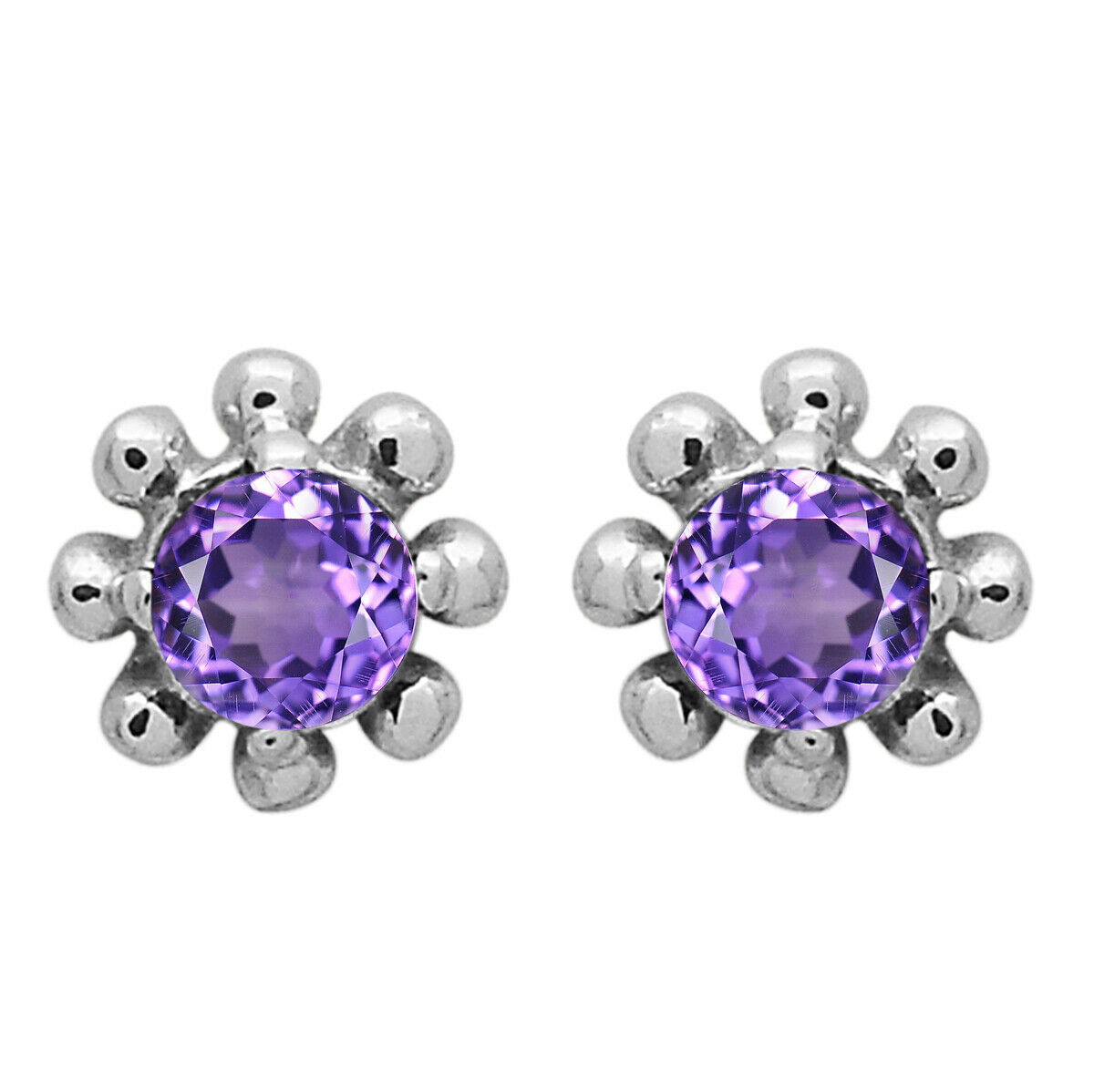 3 MM Round Natural Amethyst Flower Dainty Tiny Minimalist Stud Earring For Gift
