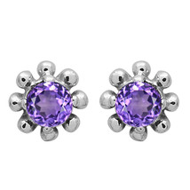 3 MM Round Natural Amethyst Flower Dainty Tiny Minimalist Stud Earring F... - $6.52