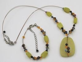 Vintage Lemon Lime Yellow AB Rhinestone Bead Necklace Strand Earrings Demi - $9.89