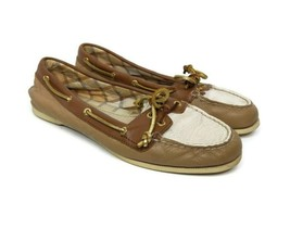 Sperry Top-Sider Audrey Loafers Womens Size 7.5 Cognac Brown & Gold Leat... - $23.75