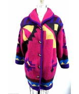 Geiger Austria Boiled Wool Duffle Coat Matching Scarf Pink Purple 40 10 ... - $226.59