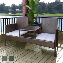 vidaXL Patio Rattan Wicker Garden Balcony Outdoor Bench Chairs Table 2 C... - $148.99+