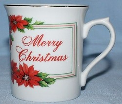 Merry Christmas Mug Red Poinsettias Gold Trim Porcelain - $7.87