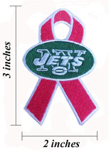 New York Jets Breast Cancer Awareness Ribbon Embroidered Iron On Patch. - $1.20