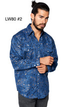 LW Men's Pearl Snap Tribal Stylish Printed Woven Western Vaquero Rodeo Shirt