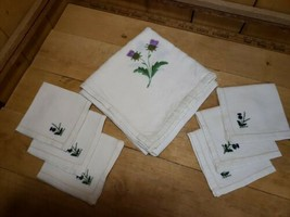 Vintage Hand Embroidered Scottish Linen Tablecloth Tea Cloth w/6 Napkins... - $118.80