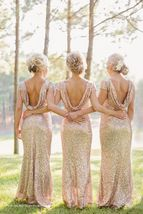 Short Sleeve Maxi Gold Sequin Dress Women Open Back Sequin Maxi Festival Gowns image 1