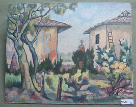 Antique Painting To oil On Board landscape the Country Master Pancaldi p11 - $169.67