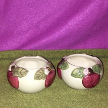 2 1990s TI Claire Burke Round 3D Embossed Apples Fruit Ceramic Glazed Bo... - $19.79