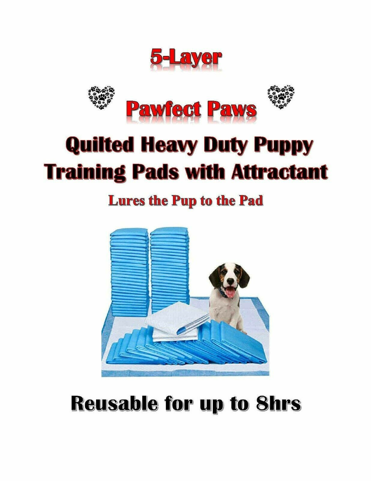 Primary image for 300-17x24 Heavy Duty 8 Hours Quilted Puppy Training Pads 5-Ply with Attractant