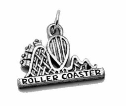 Roller coaster amusement ride theme park Sterling silver .925 Charm Jewelry - $15.29