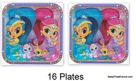 Shimmer and Shine Party Favors Party Birthday Plates Lunch Dinner Gennies 16 PC - $12.82