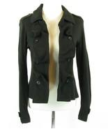 American Rag Cie Size M Black Cotton Knit Open Ruffle Detail Jacket - $22.99