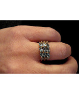 Marquise Rhinestone Cocktail Ring BLUE ICE Costume Jewelry size 6 Nickel... - $19.75
