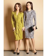 LONG SLEEVE PARTY DRESS European Stretch Olive Green Fashion Cocktai lDress - $94.00