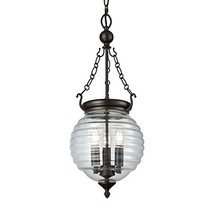 Elk Lighting 56540/3 Crosswell 3 Light Oil Rubbed Bronze with Clear Beehive Glas - $187.85