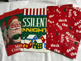 Vintage Jeanmarie Christmas Paper Gift Bags Set Of 7 Santa Silent Night - $7.87