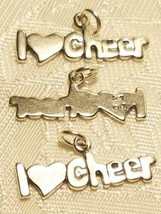 I Heart Love Cheer Cheerleader 925 Sterling Silver Charm  STAMPED .925 image 1