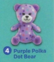 NIP-2015-McDonalds-BABW-Build-A-Bear-Workshop-Purple-Polka-Dot-Bear-4-P... - $7.66