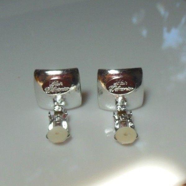 Vintage Signed Blair Delmonico Faux Pearl & Rhinestone Clip-on Earrings