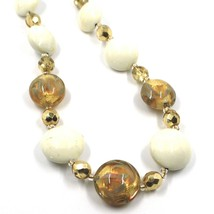 """NECKLACE WHITE YELLOW MURANO GLASS DISC & GOLD LEAF, MADE IN ITALY, 50cm, 20"""" image 2"""