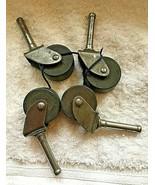 "Lot of 4 Vintage Industrial Smaller Metal & Wood Castors Wheels 1 1/8"" - $26.24"